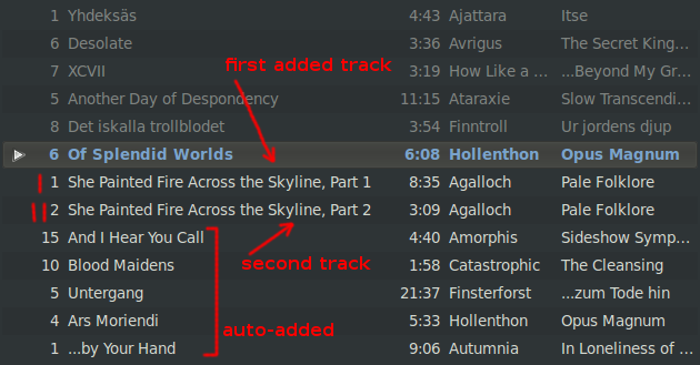 Manually added tracks